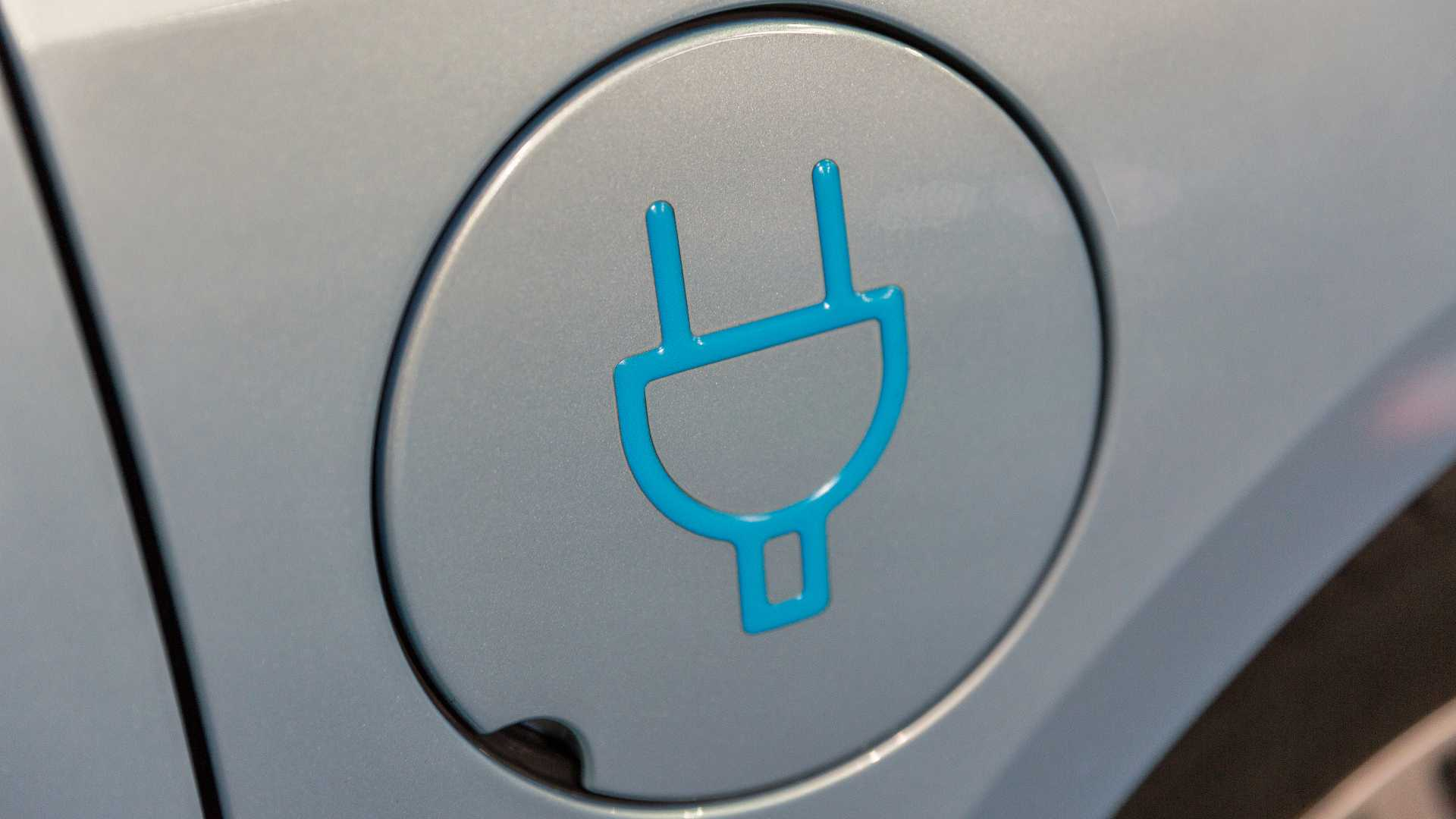 Charging symbol on electric car
