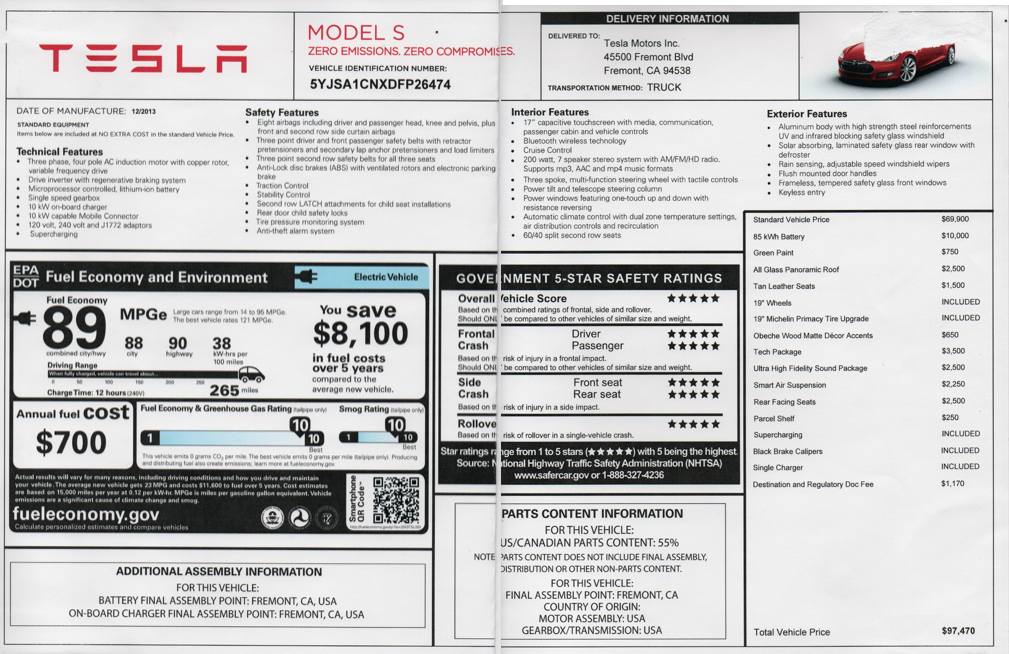 2013 Tesla Model S 5YJSA1CNXDFP26474