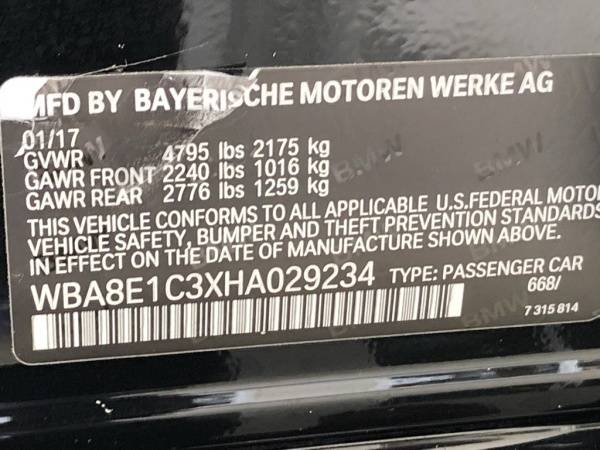 2017 BMW 3 Series WBA8E1C3XHA029234
