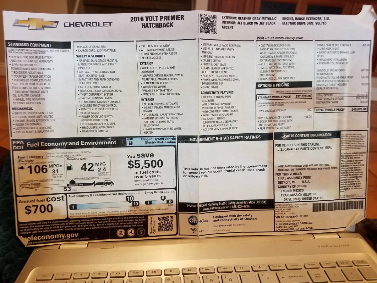 2016 Chevrolet VOLT 1G1RD6S50GU111697