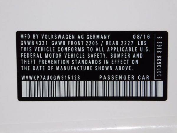 2016 Volkswagen e-Golf WVWKP7AU0GW915128