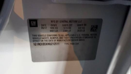 2017 Chevrolet VOLT 1G1RC6S5XHU212511