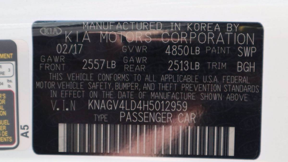 2017 Kia Optima KNAGV4LD4H5012959