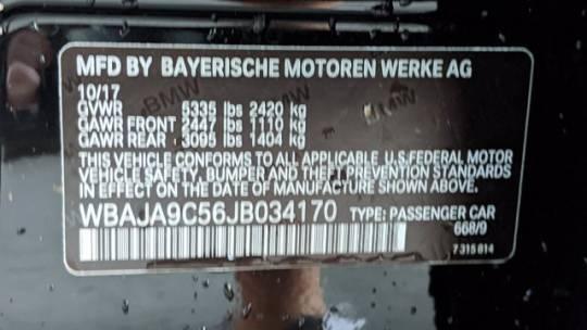 2018 BMW 5 Series WBAJA9C56JB034170