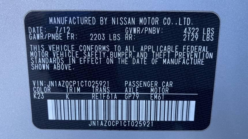 2012 Nissan LEAF JN1AZ0CP1CT025921