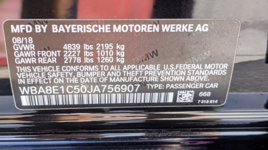 2018 BMW 3 Series WBA8E1C50JA756907