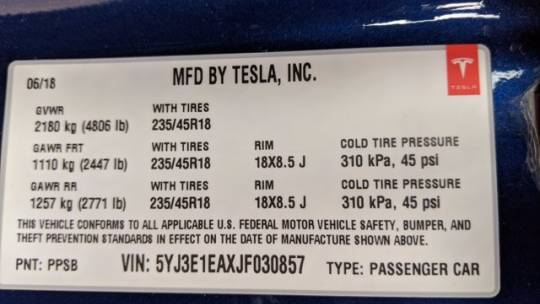 2018 Tesla Model 3 5YJ3E1EAXJF030857