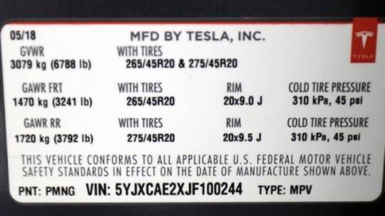 2018 Tesla Model X 5YJXCAE2XJF100244