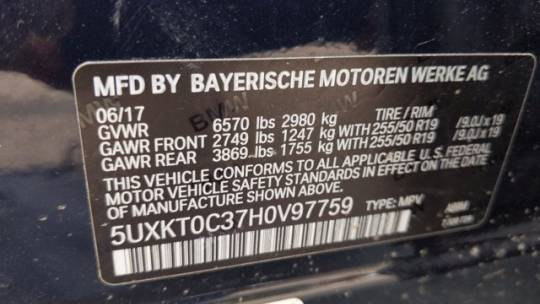 2017 BMW X5 xDrive40e 5UXKT0C37H0V97759
