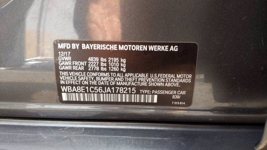 2018 BMW 3 Series WBA8E1C56JA178215