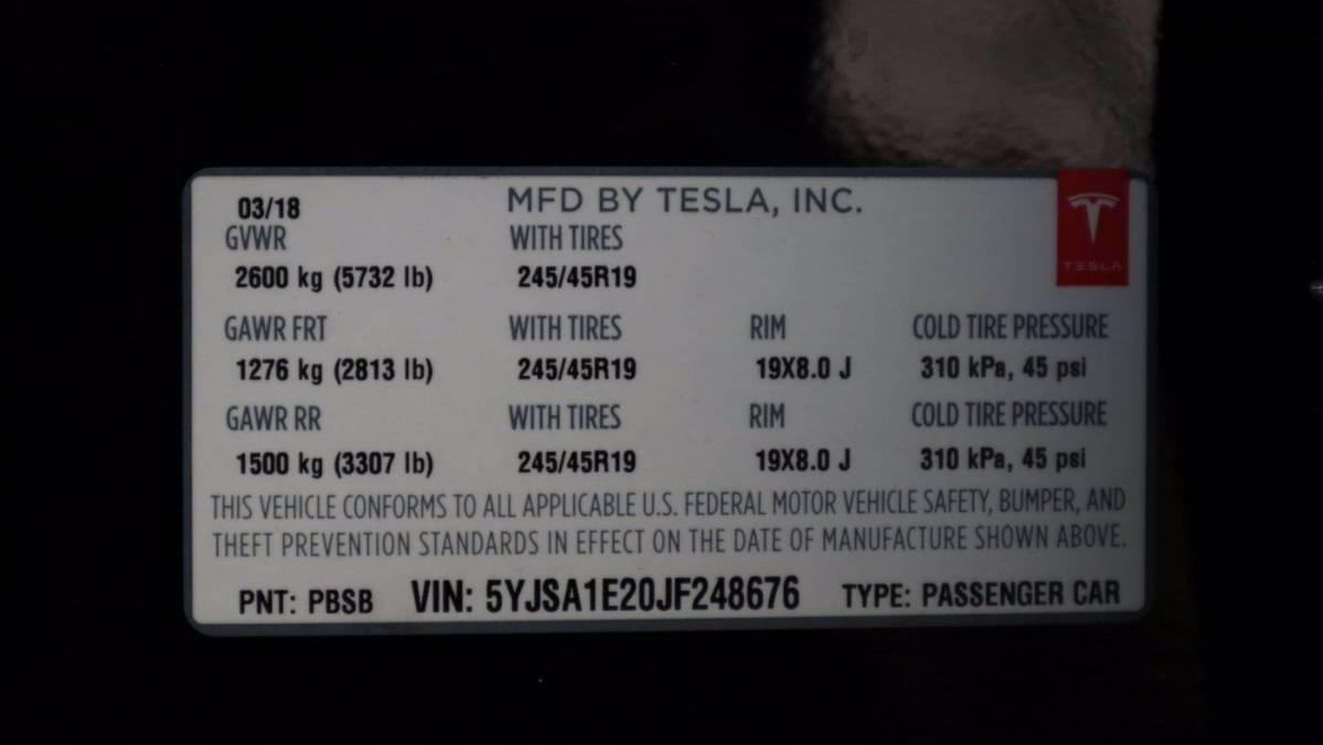 2018 Tesla Model S 5YJSA1E20JF248676
