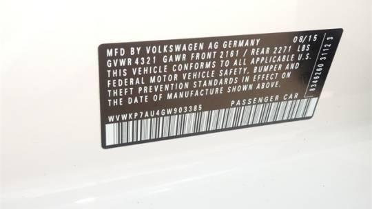 2016 Volkswagen e-Golf WVWKP7AU4GW903385