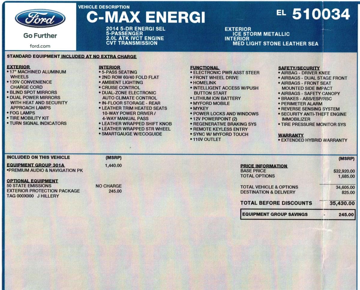 2014 Ford C-Max Energi 1FADP5CU6EL510034