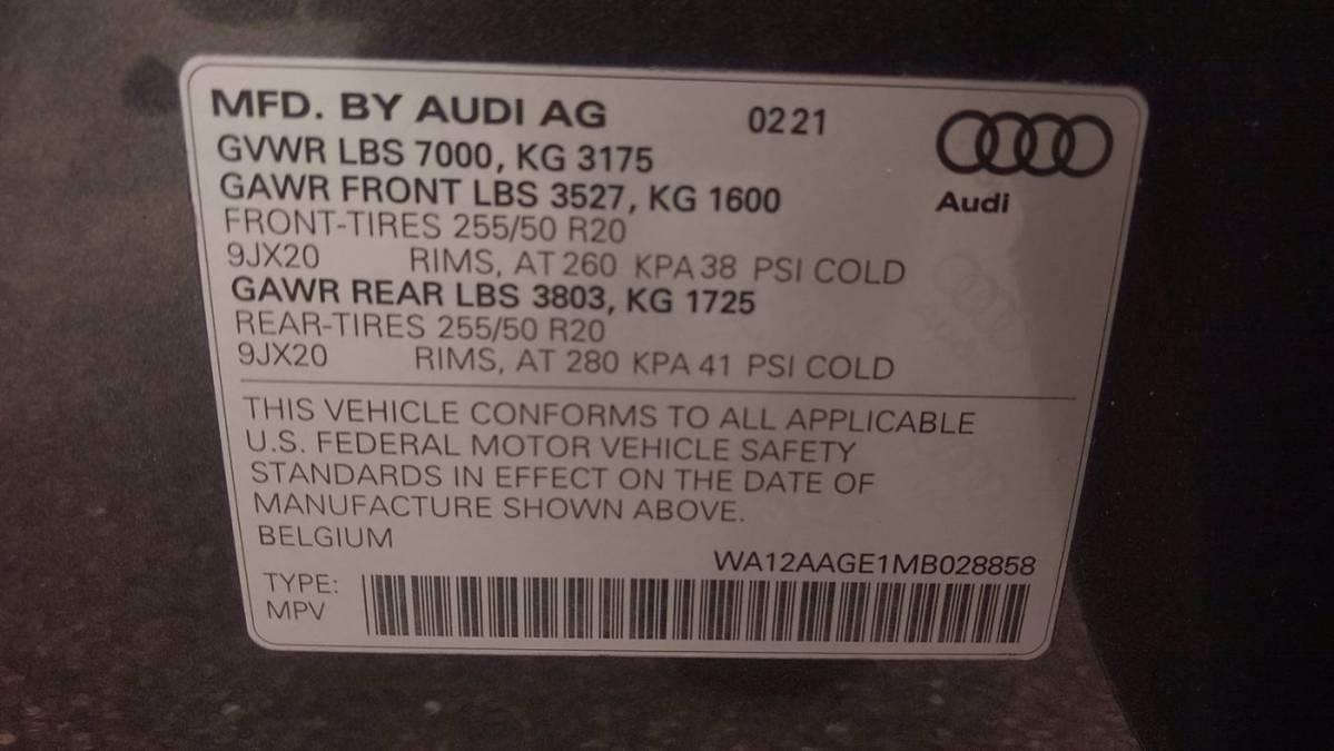 2021 Audi e-tron WA12AAGE1MB028858