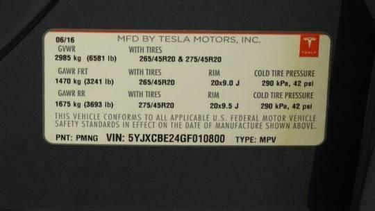2016 Tesla Model X 5YJXCBE24GF010800