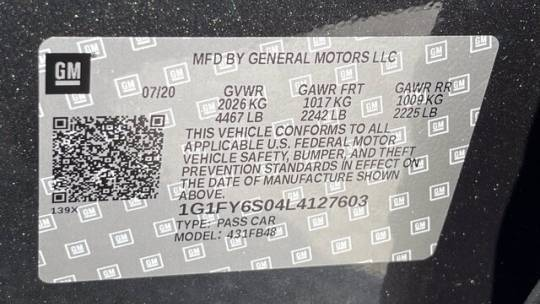 2020 Chevrolet Bolt 1G1FY6S04L4127603