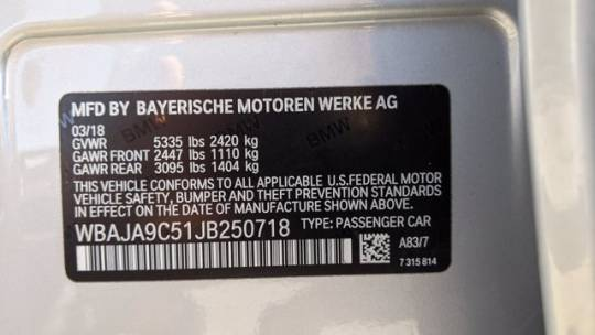2018 BMW 5 Series WBAJA9C51JB250718