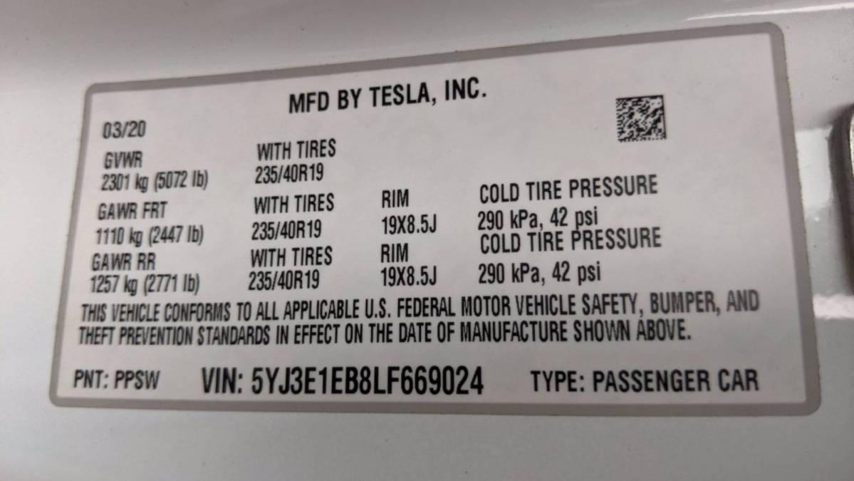 2020 Tesla Model 3 5YJ3E1EB8LF669024
