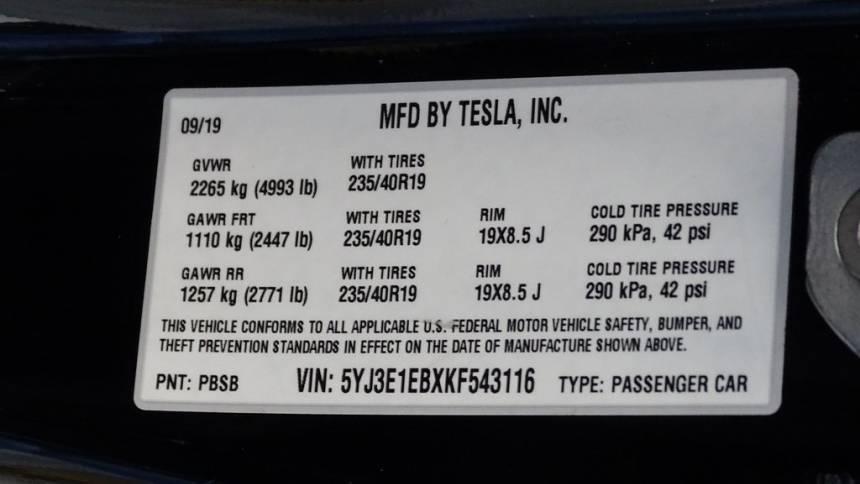 2019 Tesla Model 3 5YJ3E1EBXKF543116