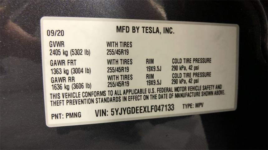 2020 Tesla Model Y 5YJYGDEEXLF047133