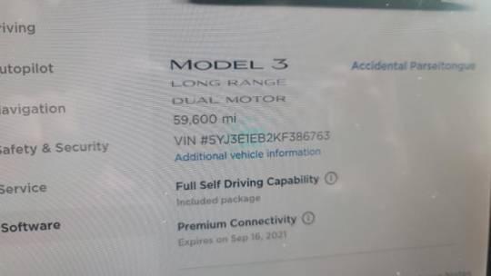 2019 Tesla Model 3 5YJ3E1EB2KF386763