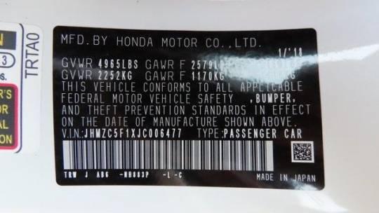 2018 Honda Clarity JHMZC5F1XJC006477