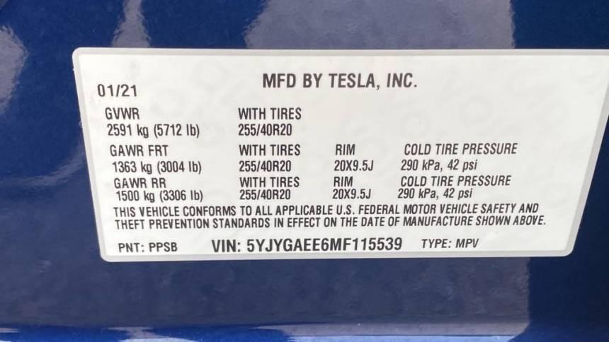 2021 Tesla Model Y 5YJYGAEE6MF115539