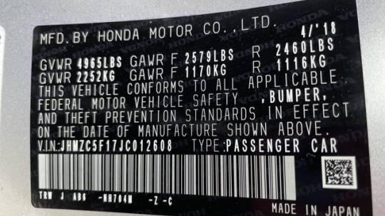 2018 Honda Clarity JHMZC5F17JC012608