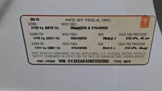 2019 Tesla Model X 5YJXCAE43KF203380