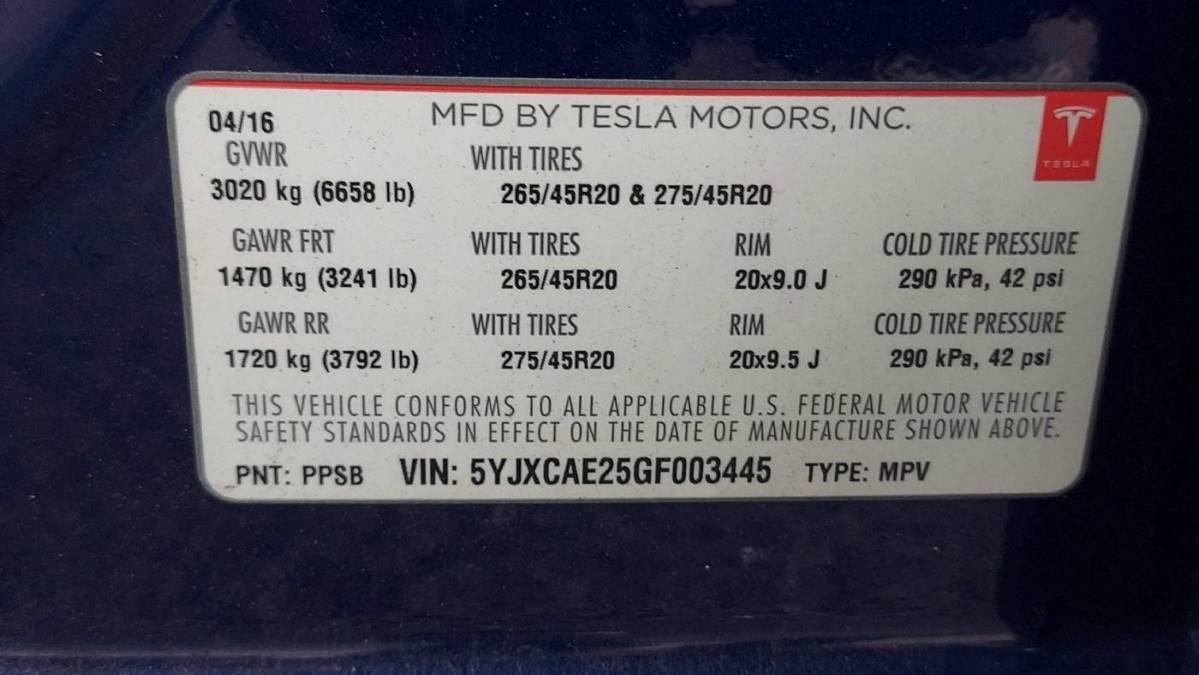 2016 Tesla Model X 5YJXCAE25GF003445