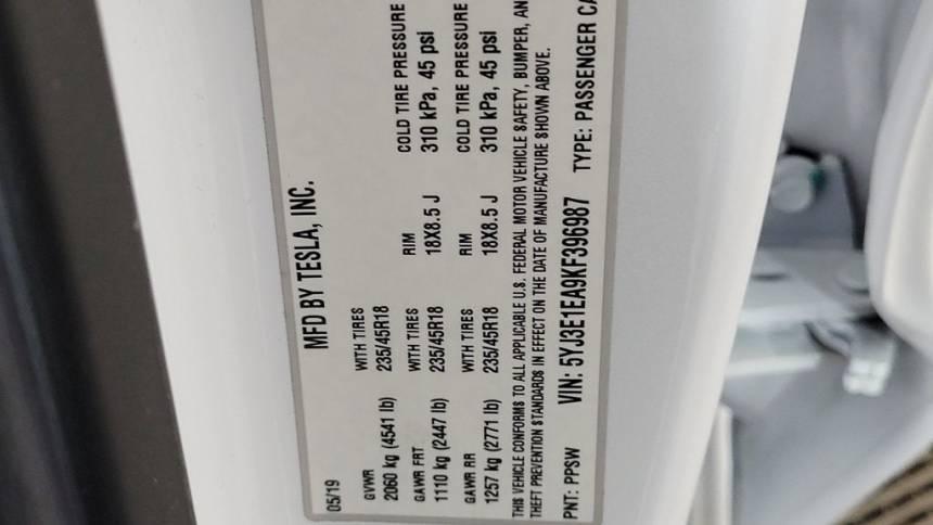 2019 Tesla Model 3 5YJ3E1EA9KF396987