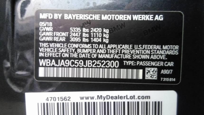 2018 BMW 5 Series WBAJA9C59JB252300