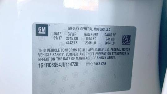 2018 Chevrolet VOLT 1G1RC6S54JU114726