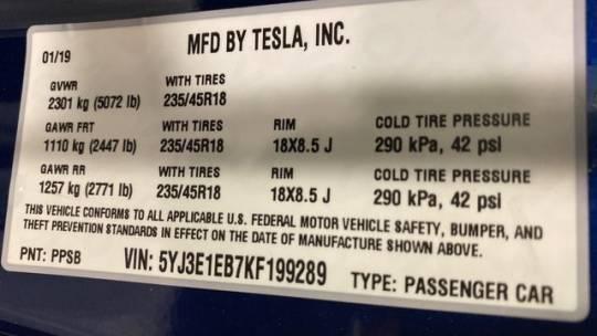 2019 Tesla Model 3 5YJ3E1EB7KF199289