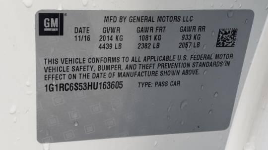 2017 Chevrolet VOLT 1G1RC6S53HU163605