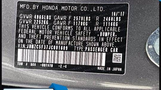 2018 Honda Clarity JHMZC5F37JC001609
