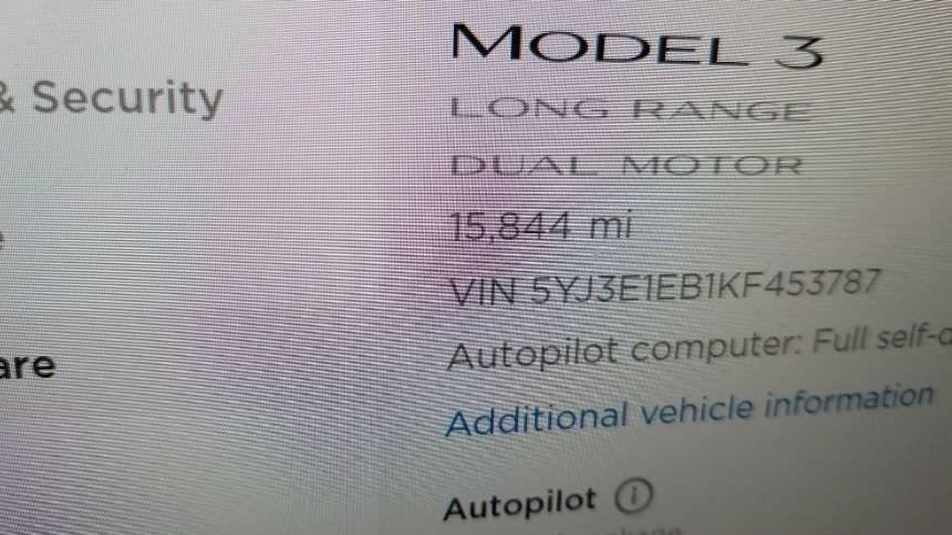 2019 Tesla Model 3 5YJ3E1EB1KF453787