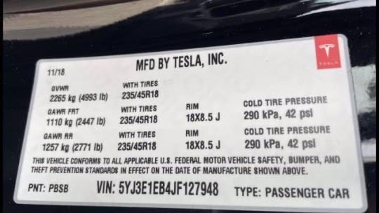 2018 Tesla Model 3 5YJ3E1EB4JF127948